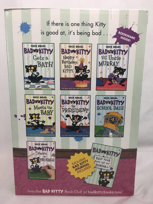 """7 Nick Bruel """"Bad Kitty"""" chapter books, plus the """"Bad Kitty Keep Your Paws Off My Journal"""""""