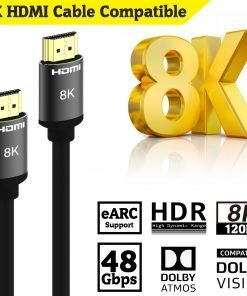 (6.5ft/ 2m) 8K HDMI Cable 2m High Speed 48Gbps HDMI Supports Dynamic HDR and Dolby Vision 4k 8k 10k @120Hz 1080P@240H