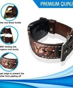 Vintage Handmade Tooled Apple Watch Band / Leather watch band / For Apple Watch Series 5, 4, 3, 2, 1, - 38/40mm For All Occasion (Rose Brown, 38/40mm)