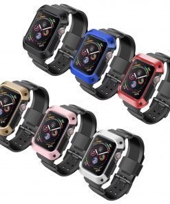 NatoGears Rugged Protective Case & Strap Band Compatible with Apple Watch Series 4 To 6 --- 44mm with Metal Buckle Clasp