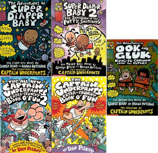 Captain Underpants Most Epic 5 Book Set: The Captain Underpants Extra-Crunchy Book o' Fun, The Captain Underpants Extra-Crunchy Book o' Fun 2, The Adventures of Super Diaper Baby, Super Diaper Baby 2, The Adventures of Ook and Gluk