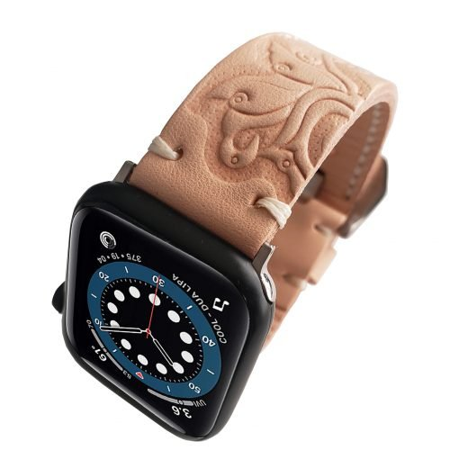 Hand Carved Natural Leather Watch Band Strap Replacement Tooled Band Compatible with Apple & Samsung Watch Series