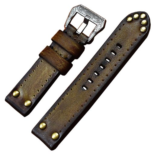 Rugged Studded Vintage Apple Watch Band Strap Crazy Cow Apple Watch Series 1 - 6 42mm 44mm