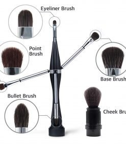 All in One makeup brush Makeup Brush Set 5 Brushes Base, Blending, Point, Eyeliner, Cheek Brushes in One Tool-Made In Korea
